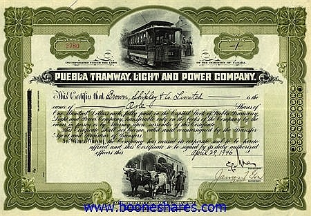 PUEBLA TRAMWAY, LIGHT AND POWER CO.