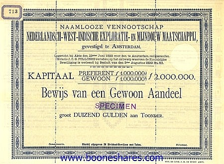 NEDERLANDSCH-WEST-INDISCHE EXPLORATIE- EN MIJNBOUW MIJ.