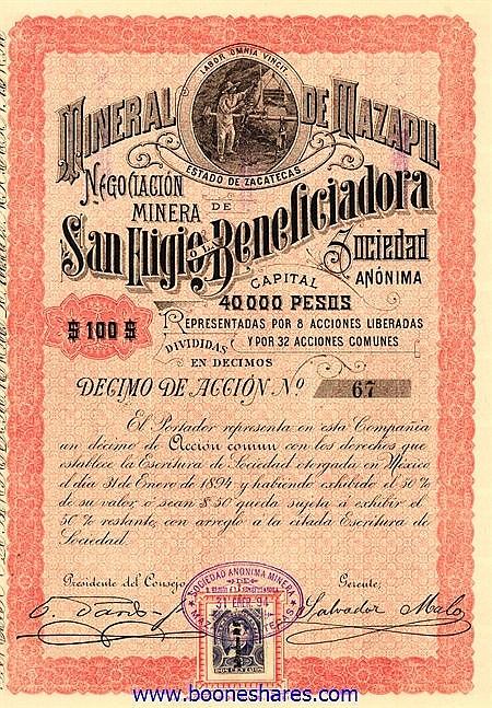 MINERAL DE MAZAPIL E. DE ZACATECAS - NEGOCIACION MINERA DE SAN ELIGIO O LA BENEFICIADORA