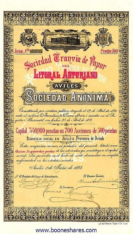 ASTURIANO, SOC. TRANVIA DE VAPOR DEL LITORAL