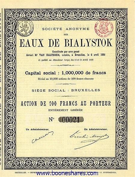 EAUX DE BIALYSTOCK, S.A. DES