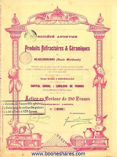 PRODUITS REFRACTAIRES & CERAMIQUES DE WLADZIMIROWKA, S.A. DES