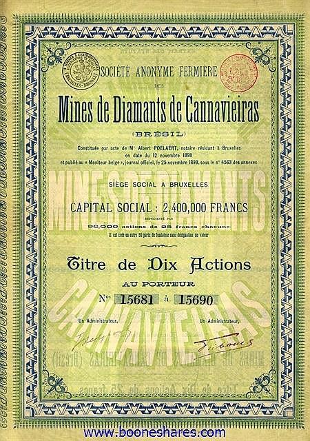 MINES DE DIAMANTS DE CANNAVIEIRAS, S.A. FERMIERE DES