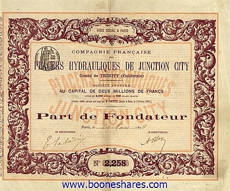PLACERS HYDRAULIQUES DE JUNCTION CITY, CIE. FR. DES
