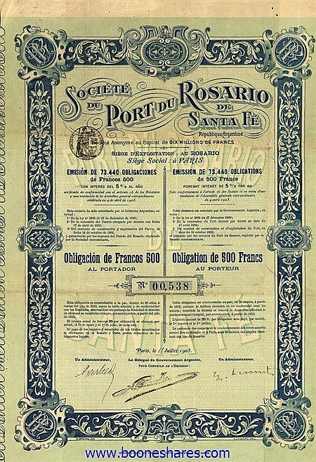 PORT DU ROSARIO DE SANTA FE, SOC.