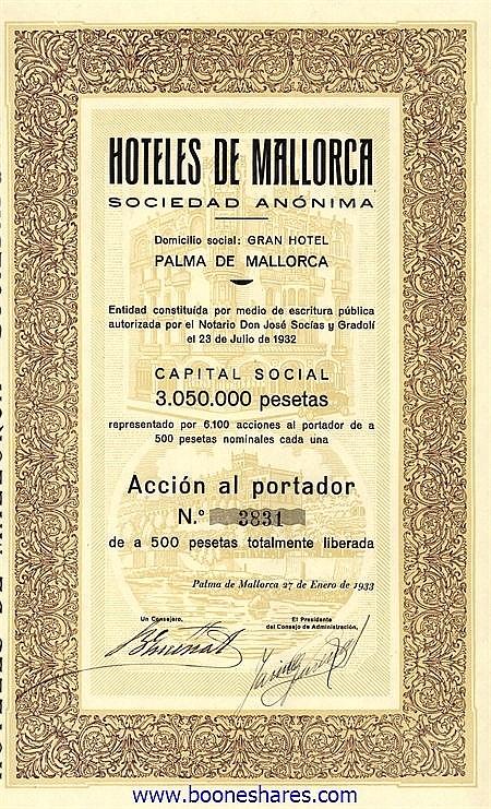 HOTELES DE MALLORCA S.A.