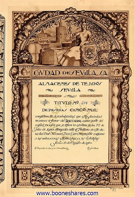 CIUDAD DE SEVILLA S.A., ALMACENES DE TEJIDOS