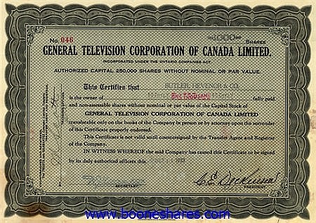 GENERAL TELEVISION CORPORATION OF CANADA LTD (2 pieces)