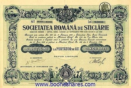 STICLARIE, SOC. ROMANA DE
