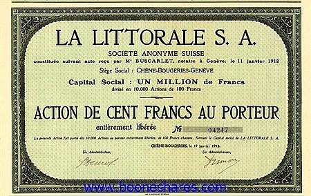 LA LITTORALE S.A. SUISSE