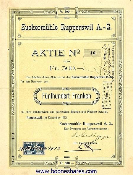 ZUCKERMÜHLE RUPPERSWIL A.-G.