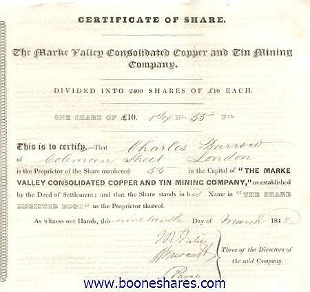 MARKE VALLEY CONSOLIDATED COPPER AND TIN MINING CO