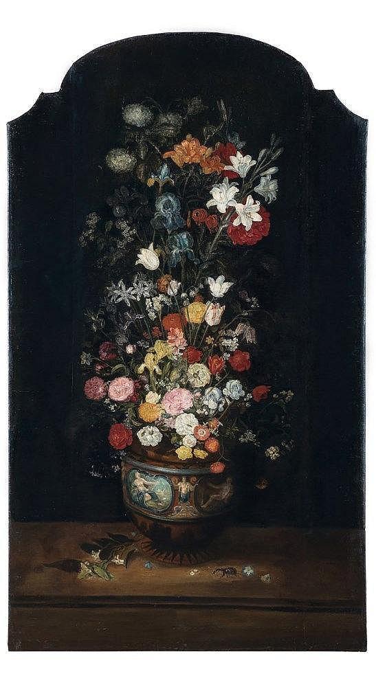 Philippe de MARLIER (Vers 1600 - Anvers 1668), attribué à Vase de fleurs sur un entablement