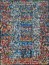 Mahjoub Ben Bella  (né en 1946 à Maghnia, vit et travaille actuellement à Tourcoing) Arc en Ciel, 2012 Huile sur toile 89 x 116 cm