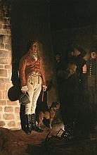 D'après Jean-Paul LAURENS (1838-1921) L'exécution du duc d'Enghien dans les fossés de Vincennes Huile sur toile. 165 x 105 cm