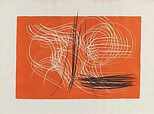Hans HARTUNG (1904-1989) Composition Lithographie en couleurs, contresignée en bas à droite et annotée EA en bas à gauche. 56 x 76,5 cm