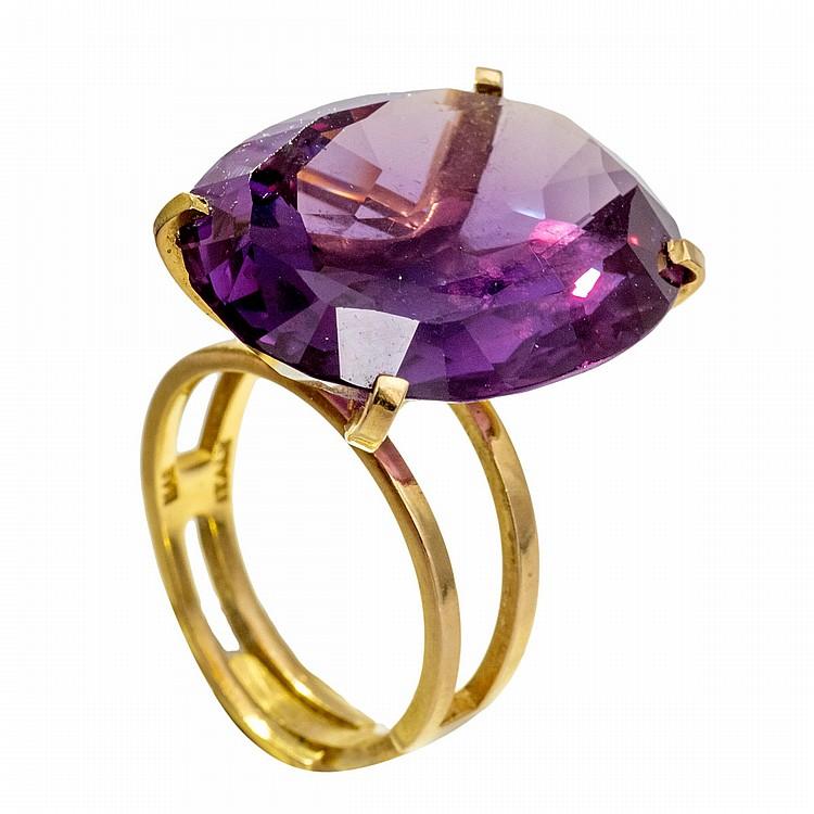 bague or jaune pierre violette