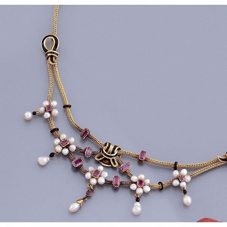 collier en or jaune 18k 750 par de perles fines non tes. Black Bedroom Furniture Sets. Home Design Ideas