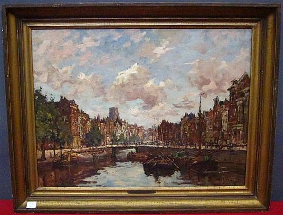 SCHAAP, HENDRIK (DUTCH, 1878-1955): Oil on canvas. Continental canal scene. Signed lower right.