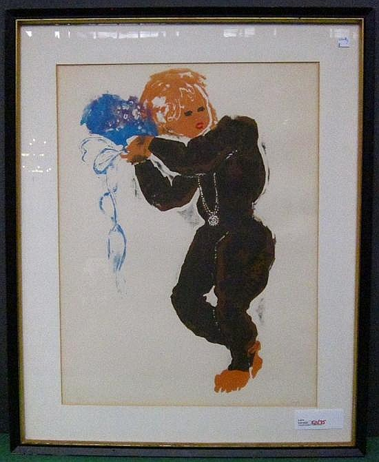 CUNI, JOSE ALFONSO (SPANISH, b.1924): Lithograph. Figure holding a bouquet. Pencil signed lower right.