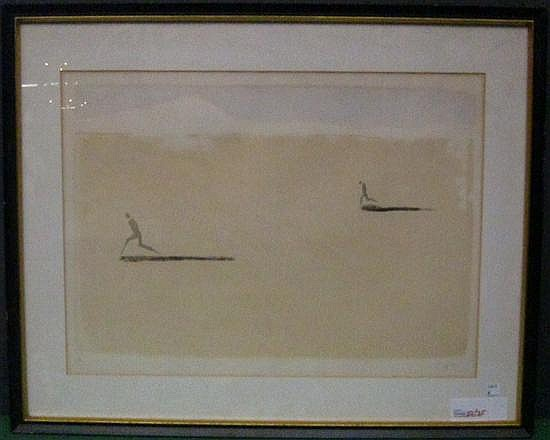 CUNI, JOSE ALFONSO (SPANISH, b.1924): Lithograph. Modern composition with figures running. Pencil signed lower right.