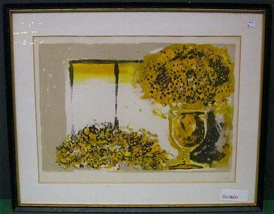 CUNI, JOSE ALFONSO (SPANISH, b.1924): Lithograph. Modern still life with flowers. Pencil signed lower right.