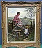 BROWN, THOMAS AUSTEN (BRITISH, 1857-1924): Oil on canvas. Mother and children in a summer landscape. Signed 82 lower left., Thomas Linn Brown, Click for value