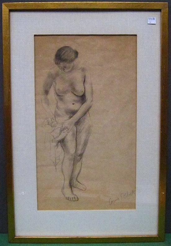 RIBAK, LOUIS (POLISH/ AMERICAN, 1902-1972): Crayon on paper. Standing female nude. Signed lower right.