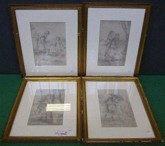 SERRET, CHARLES (1824-1900): Group of four pencil drawings. Depictions of children. All signed lower left.
