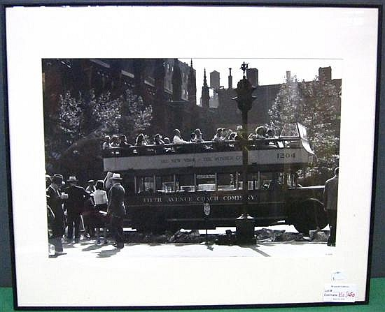 ROTH, HAROLD (AMERICAN, b. 1918): Black and white photograph. Double decker NYC sight-seeing bus. Signed in pen lower right.