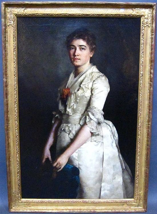 BANTZER, CARL (GERMAN, 1857-1941): Oil on canvas. Portrait of a young woman in white. Signed, Paris 1883 upper left.