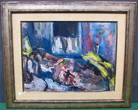 REDEIN, ALEXANDER (AMERICAN, NY, 1912-1990): Gouache on paper. Abstract with reclining figure. Signed upper right.