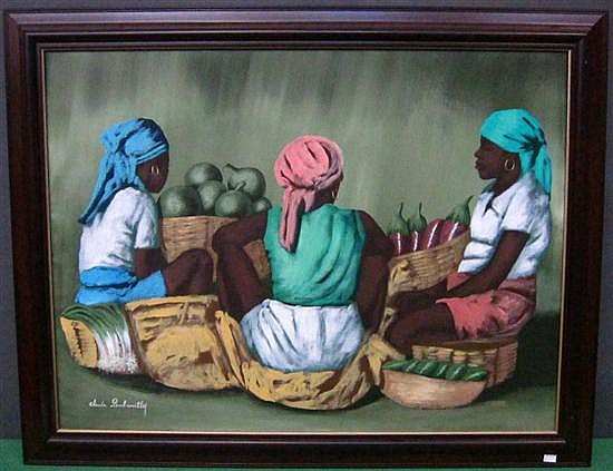 DAMBREVILLE, CLAUDE (HAITIAN, b.1934): Oil on canvas. Ladies at the vegetable market. Signed lower left.
