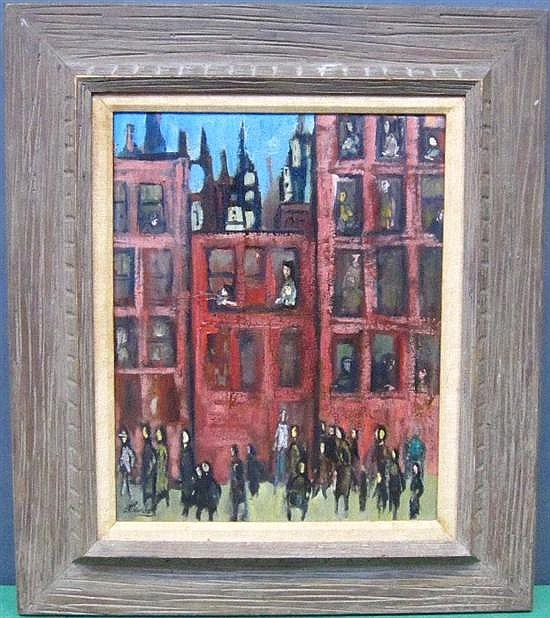 KLEINHOLZ, FRANK (AMERICAN, NY, 1901-1987): Oil on masonite. Cityscape. Signed lower right, labeled on verso.