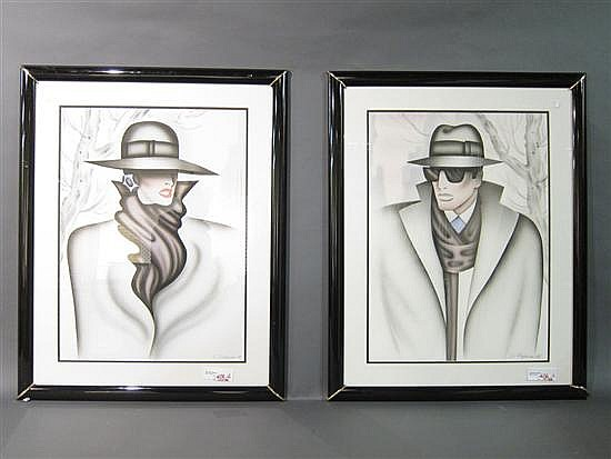 FREYMAN, ERIK (b.1932): Two color prints. Portraits of a lady and a gentleman.