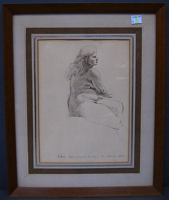 MCMULLAN, JAMES (AMERICAN, NY, b. 1934): Ink on paper. Seated female nude.