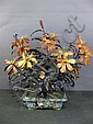 ANTIQUE CHINESE ARRANGEMENT: Carved agate and jade flower arrangement.