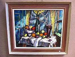 SHOULBERG, HARRY (AMERICAN, 1903-1995): Oil on canvas. Still life with fruit and wine bottle.