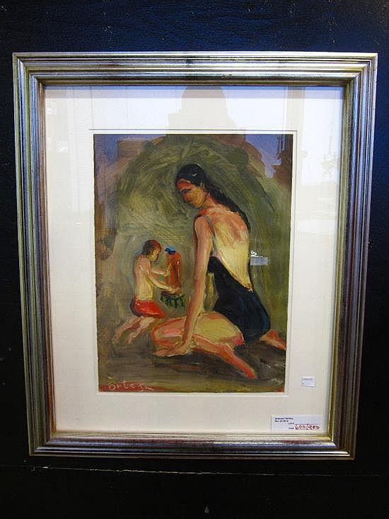 ORTEGA, JOSE (SPANISH, 1921-1990): Paint on paper. Artist and model in the studio.