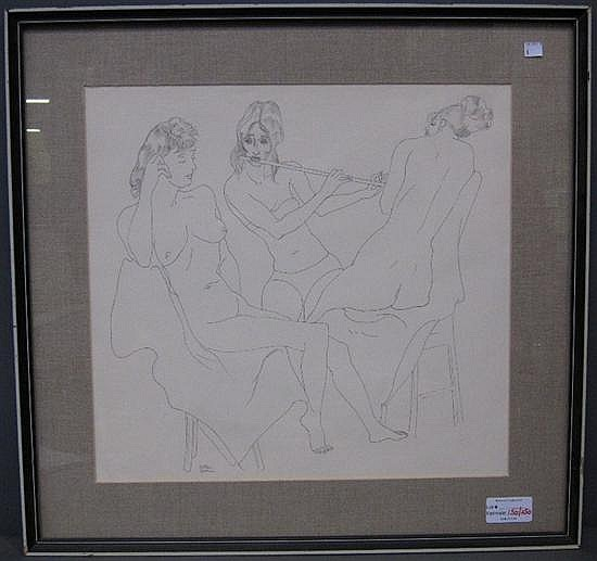 GOODMAN, BERTRAM (AMERICAN, 1904-1988): Ink on paper. Figural group of female nudes.