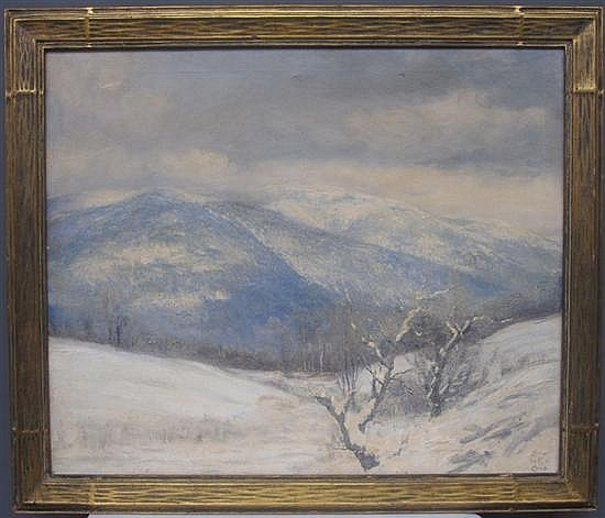 CHILD, EDWIN BURRAGE (AMERICAN, VERMONT, 1868-1937): Oil on canvas. Hilly landscape in winter.