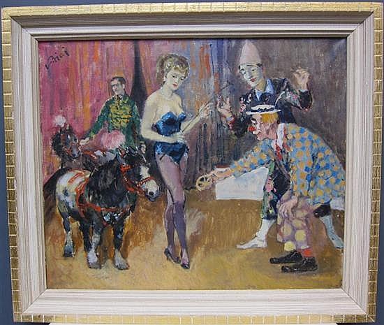 BIAI-FOGLEIN, ISTVAN (HUNGARIAN, 1905-1974): Oil on canvas. Circus performers.