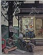 DOHANOS, STEVAN: Pencil and gouache on illustration board. Outside the barber shop. Signed lower right., Stevan Dohanos, Click for value