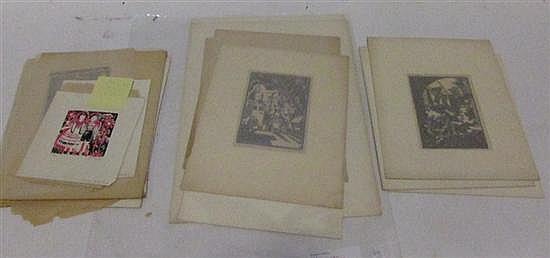 LENSKI, LOIS (AMERICAN, 1893-1974): Large group of linoleum block prints. Mainly houses and genre scenes.