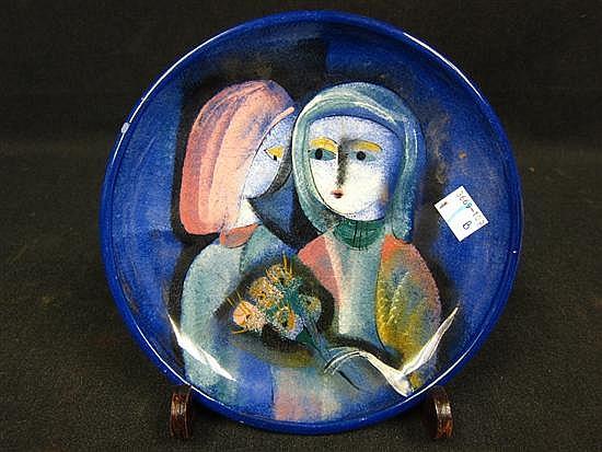 PILLIN, POLIA (POLISH/ AMERICAN, 1909-1992): Glazed art pottery plate. Two female figures.