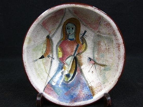 PILLIN, POLIA (POLISH/ AMERICAN, 1909-1992): Glazed art pottery bowl. Woman playing the lute.