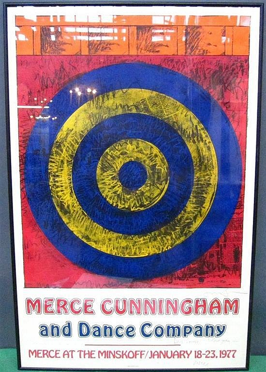 AFTER JASPER JOHNS (AMERICAN, b.1930): Signed colored poster. Merce Cunningham and Dance Company