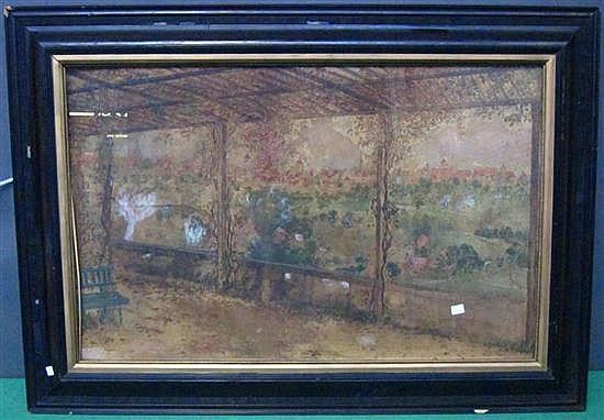 DARGEN, ERNST (German, 1867-1929): Watercolor. View of Rothenberg. Signed lawer left.