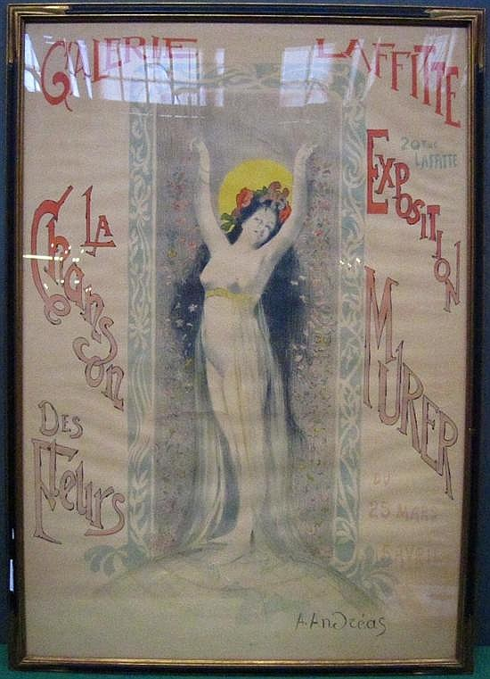 ANDREAS,A. (1864-1899) POSTER: Galerie Laffite / Exposition Murer.