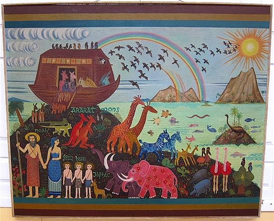 HOFFLANDER, JACK (AMERICAN, 1920-2003): Oil on canvas. Noah's Ark.